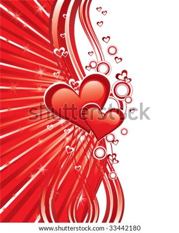 Red heart on abstract background, love card - stock vector