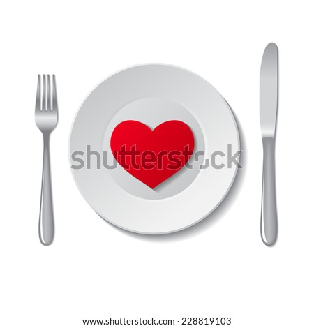 Red heart on plate on white background. Vector illustration.
