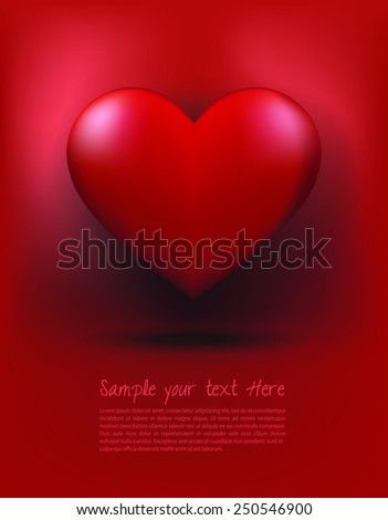 red heart on red background ,Illustration with a red valentine heart - stock vector