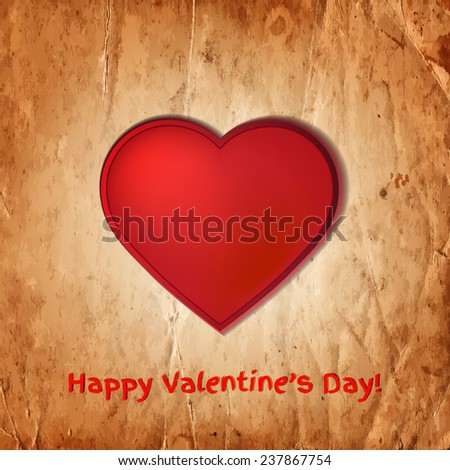 Red heart on the old paper texture. Vector illustration - stock vector