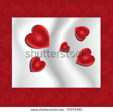 red heart on the silk background - stock vector