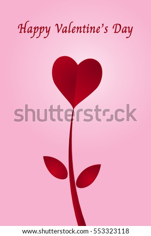 Red heart paper cut flower and happy valentine's day on pink background