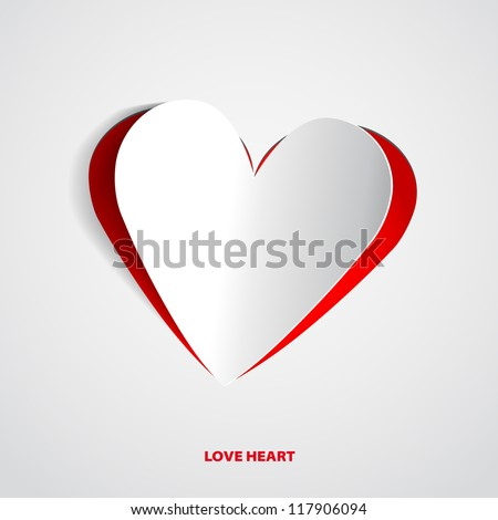 Red Heart Paper Sticker With Shadow - vector illustration Postcard - stock vector