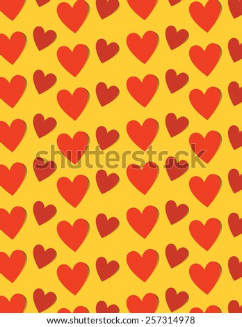 Red heart pattern over yellow color background - stock vector