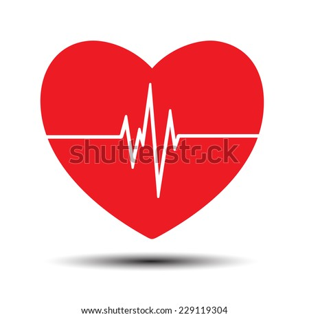 Red Heart pulse monitor with signal. Heart beat. icon. - stock vector