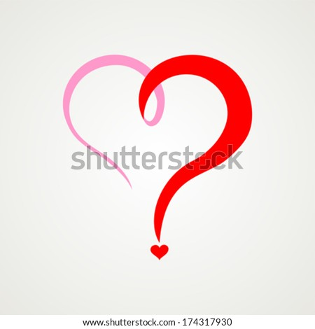 Red heart question mark  isolated on White background. Vector illustration  - stock vector