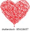 Red heart scribble with lines texture on white background. Element for your Valentine`s Day Design - stock photo