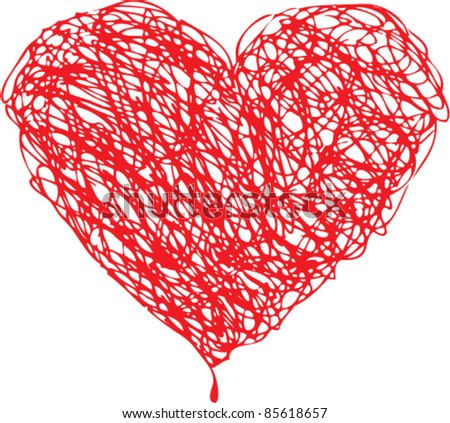 Red heart scribble with lines texture on white background. Element for your Valentine`s Day Design - stock vector