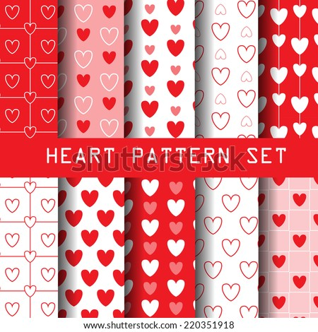 red heart seamless pattern set, heart collection, vector Endless texture can be used for wallpaper, pattern fills, web page,background,surface