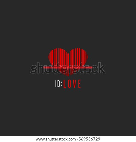 Red Heart Shape Barcode Scanner, Creative Valentine Is Day Greeting Card  Mockup, Romantic Love