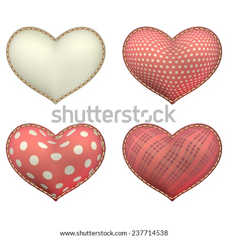 Red heart-shaped soft toy set isolated on white. EPS 10 vector file included - stock vector