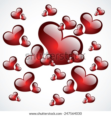 Red heart shapes on white background to the Valentine's day. Vector illustration.  - stock vector