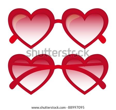 red heart sunglasses over white background. vector illustration - stock vector