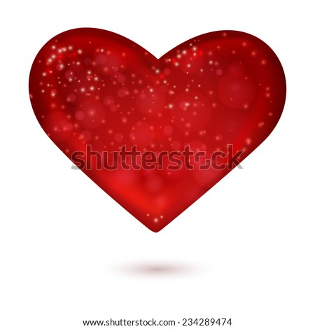 Red heart. Valentine`s day symbol.  Vector illustration - stock vector