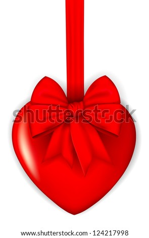 red heart with a bow. vector