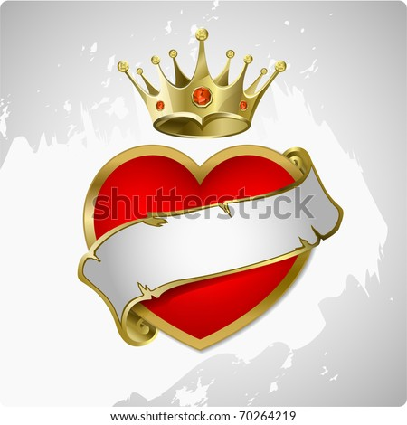 Red heart with a gold crown. A vector illustration - stock vector