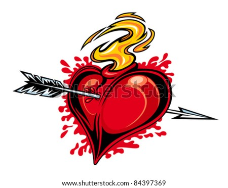 Red heart with arrow for tattoo design. Rasterized version also available in gallery - stock vector