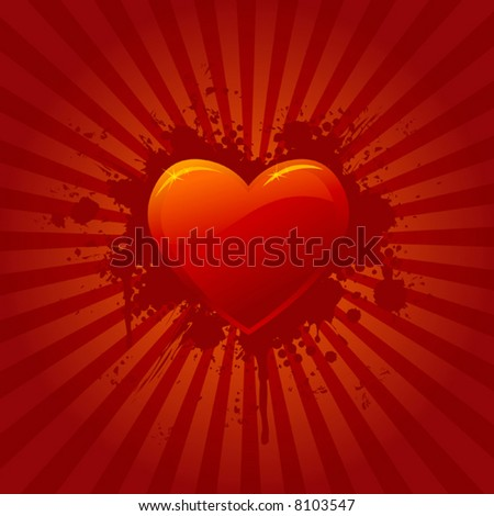 Red heart with background, vector illustration