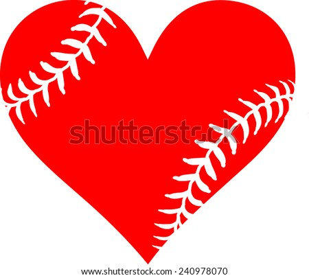 Red heart with baseball laces. I love baseball - stock vector