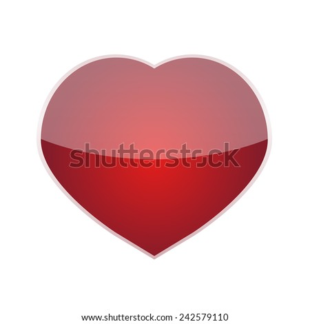 Red Heart with bright trim icon isolated on white background for Valentine's day holiday and for gift. Vector illustration - stock vector