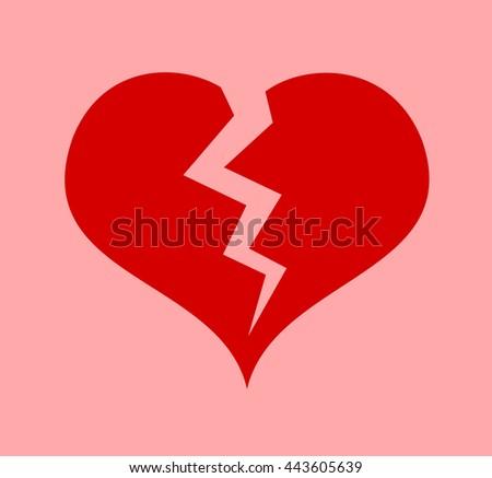 Red Heart Crack Symbol Heart Attack Stock Vector 443605639