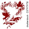 Red heart with filigree ornament and Cupid, vector images scale to any size. - stock vector