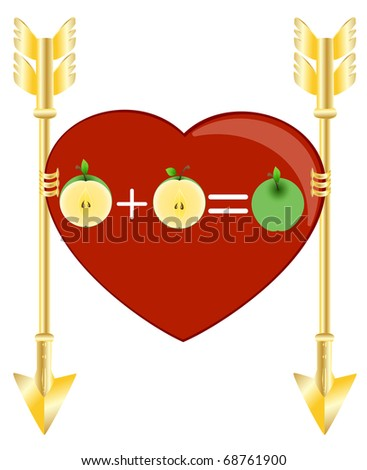 Red heart with green apples and two gold arrows