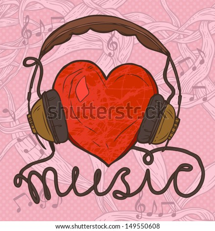 red heart with headphones, hand drawn funny illustration of music concept - stock vector