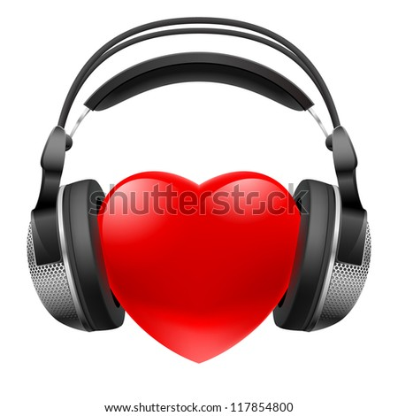 Red heart with headphones. Music concept. Illustration on white - stock vector