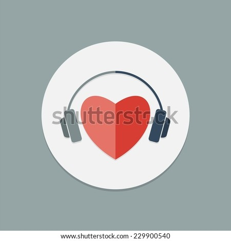 Red heart with headphones. Vector icon. - stock vector