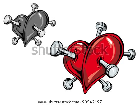 Red heart with nails for love tattoo. Jpeg version also available in gallery - stock vector