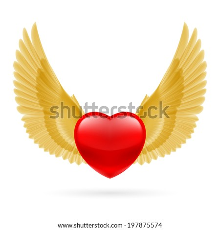Red heart with raised golden yellow wings. - stock vector