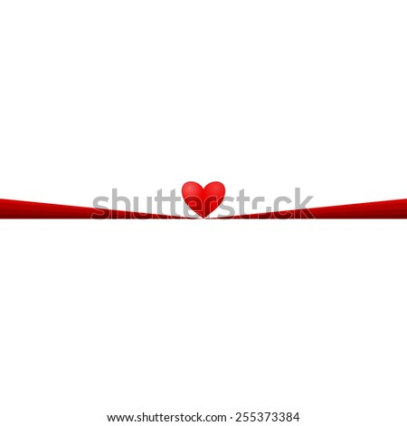 Red heart with red ribbon on white background. - stock vector