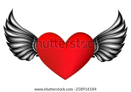 Red heart with silver / black color wings design isolated on white  - stock vector