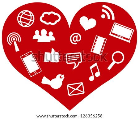 Red Heart with Social Media Icons and Symbols Isolated on White Background Illustration Vector - stock vector