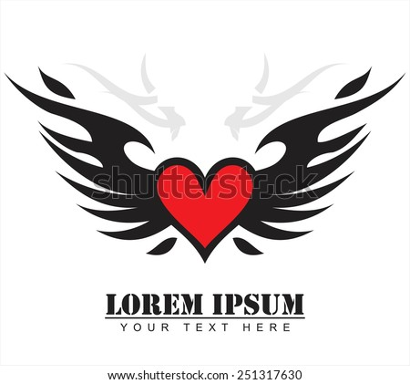 red heart with the black wing, winged red heart.  - stock vector