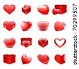 Red hearts and gifts set Valentine's day vector design elements - stock photo