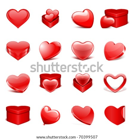 Red hearts and gifts set Valentine's day vector design elements - stock vector