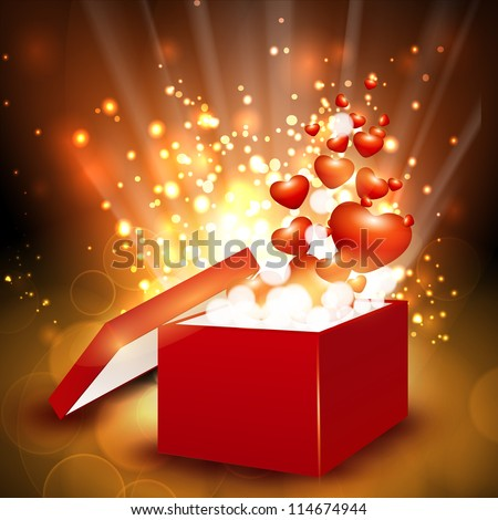 Red hearts coming out from gift box. EPS 10 - stock vector