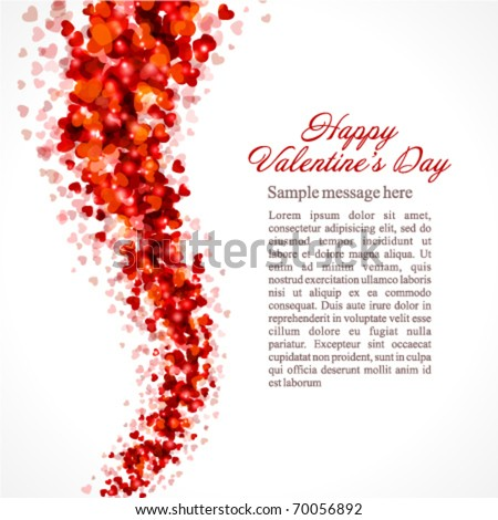 Red hearts confetti fly Valentine's day vector background - stock vector