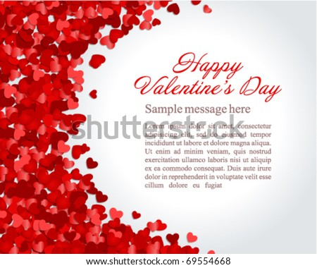 Red hearts confetti Valentine's day or Wedding vector background