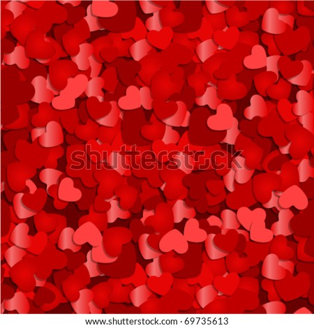 Red hearts confetti Valentine's day or Wedding vector background - stock vector