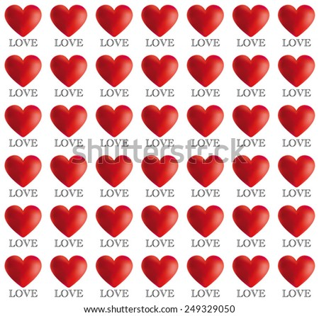 Red Hearts 3D with Love Text Pattern for Valentine's Day. Beautiful Pattern in red with Text LOVE Vector Illustration for book cover, brochure, flyer, magazine, CD cover design, website, app, report - stock vector