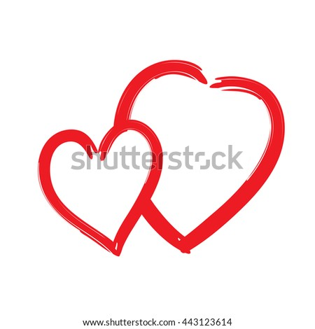 Red hearts icon. Brush texture shape sign isolated on white background. Symbol of romantic, love, passion. Drawing design element for Valentine day, holiday or greeting, decoration Vector illustration
