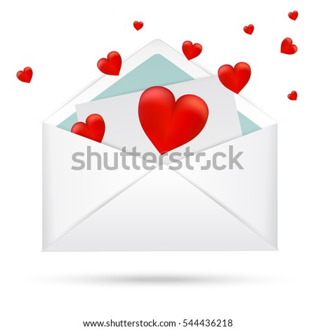 Red hearts in  open envelope isolated on a white background. Valentine's day card. Vector illustration