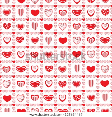Red hearts in squares of hearts
