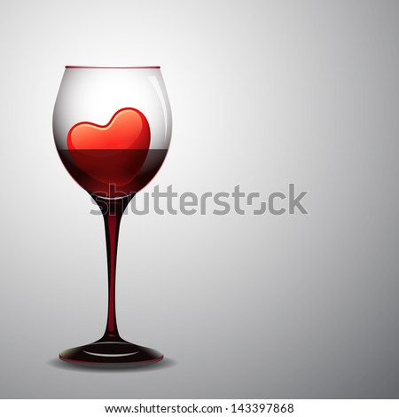 Red hearts in wine glass. - stock vector