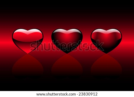 red hearts on a gradient background