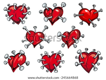 Red hearts pierced by nails in cartoon style for tattoo or any love concept design - stock vector