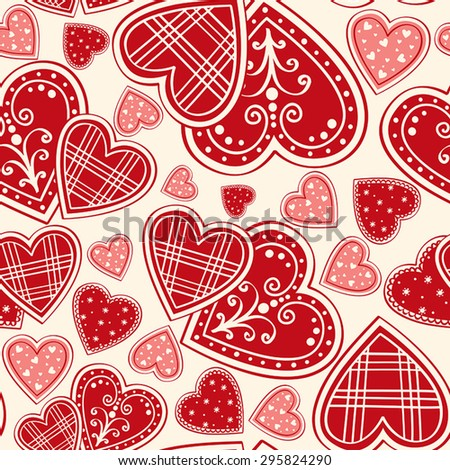 red hearts seamless background - stock vector